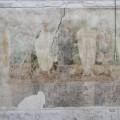 Marienkirche Berlin, Turmhalle, Totentanz-Wandmalerei, Ausschnitt, Nordwand, im Zustand der Wiederfreilegung, heutige Situation, Messbild, Foto 2010 (© DuB, Maurizio Paul)
