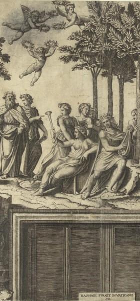 Kupferstich, Marcantonio Raimondi, Der Parnass (Ausschnitt), Rijksmuseum, Amsterdam