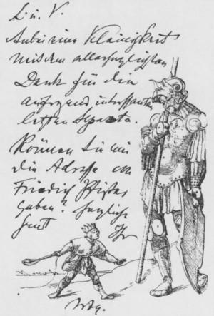 Briefkarte Warburgs an Franz Boll aus dem Jahr 1912